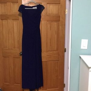 A purple long gown dress